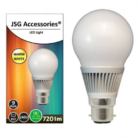 JSG Accessories® B22 bayonet 9W Energy saving LED bulb in Warm White